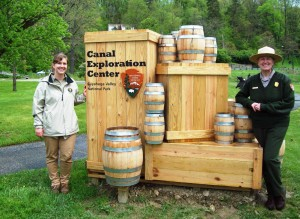 Park ranger and summer intern welcome visitors to the new Canal Exploration Center