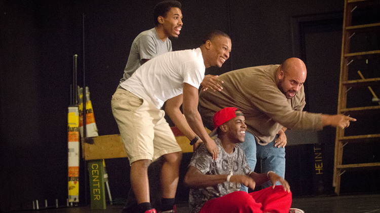"""(From left) DeAndre Hairston-Karim, Dontez James, Cristoffer Carter and Tyson Sebree make up the cast for Ma'Sue Productions' """"...Or Does It Explode?"""" at the Balch Street Theatre Oct. 8 through 18. (Photos: Dale Dong)"""