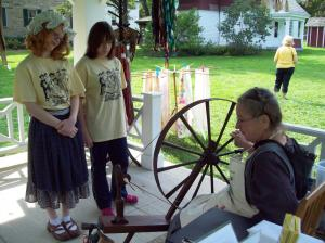 Visitors received instruction in wool spinning (Photo by H. Craig Erskine III)