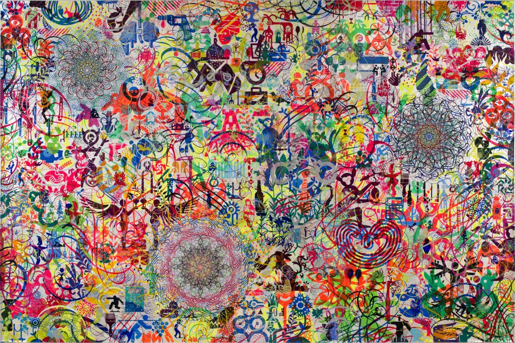 Ryan McGinness' paintings are multi-layered with iconography, pop culture and other signage. (Photo courtesy of Ryan McGinness Studios, Inc./Art Resource, NY. © 2014 Ryan McGinness/Artists Rights Society (ARS), New York.)