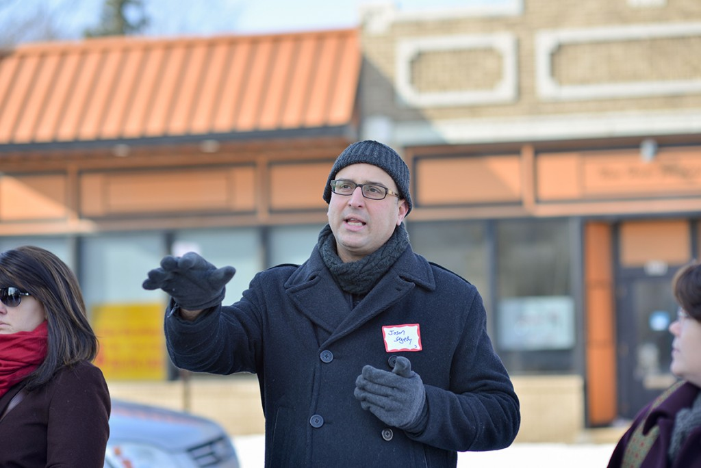 Jason Segedy, director of the Akron Metropolitan Area Transportation Study, points out the future location of the Better Block event, which will take place in May. (Photo: Shane Wynn)