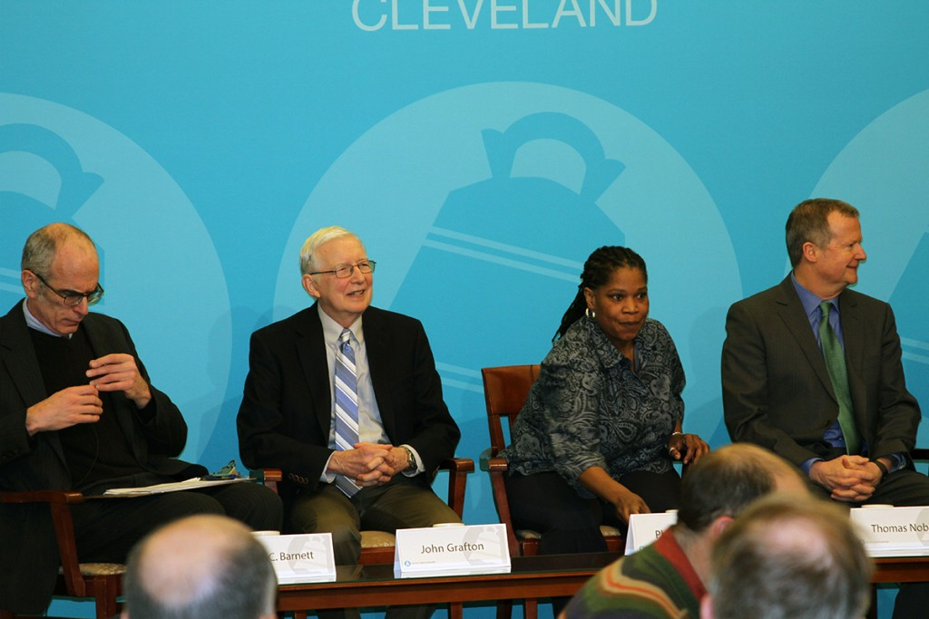 The Cleveland City Club also hosted a panel discussion, which included (from left) David C. Barnett, Senior Reporter/Producer for WCPN; John Grafton, from the Gay Community Endowment Fund of Akron Community Foundation''s Advisory Board; Phyllis Harris, Executive Director of the LGBT Community Center of Greater Cleveland; and Tom Nobbe, Executive Director of the 2014 Gay Games 9. (Photo: Jeff Marras)