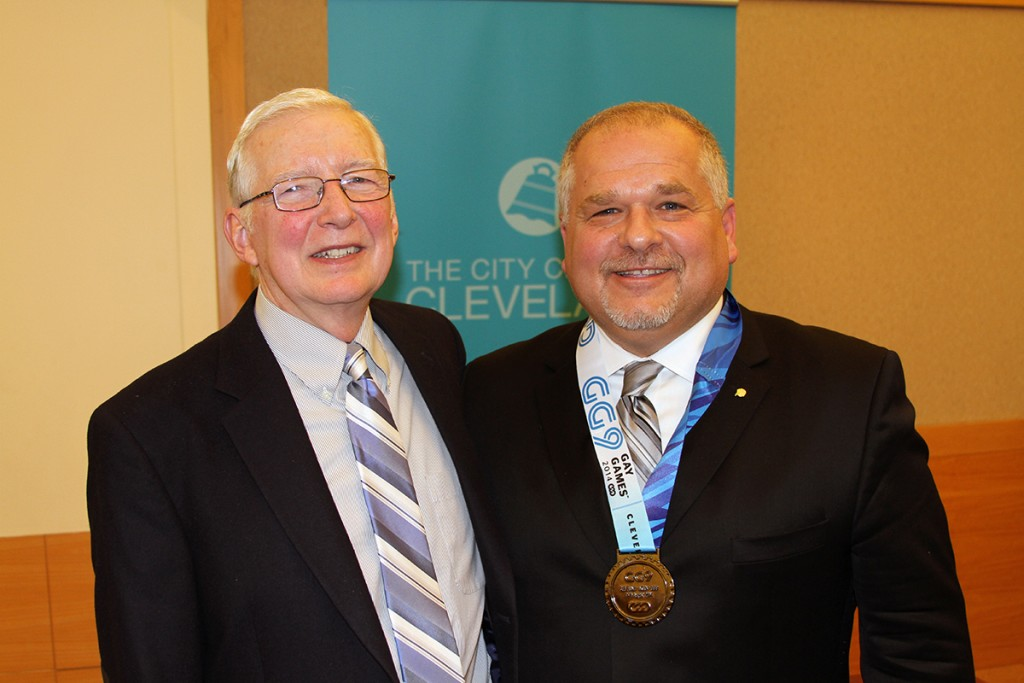 Akron Community Foundation was recently commended by the Cleveland City Club a successful year for Gay Games 9 in 2014. The Foundation received $27,000 for Akron's Gay Community Endowment Fund. Pictured are (from right) John T. Petures Jr., President & CEO of Akron Community Foundation, and John Grafton, from the Foundation's Gay Community Endowment Fund's Advisory Board. (Photo: Jeff Marras)
