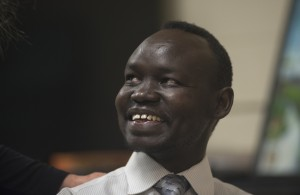 "After receiving citizenship in the U.S., Bol Aweng, a ""Lost Boy of South Sudan,"" earned a degree in Fine Arts, working as an artist and speaker, along with helping to establish a health clinic in his native country. (Photo: David LaBelle)"