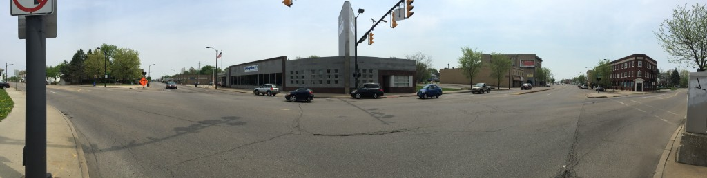 Panoramic view of the North Main Street/Cuyahoga Falls Avenue intersection. (Photo: Blue Green)