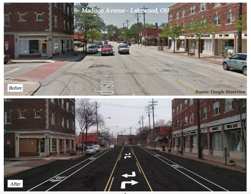 Here's an example of a 'road diet' in Lakewood/Cleveland. (Photo Courtesy: AMATS)