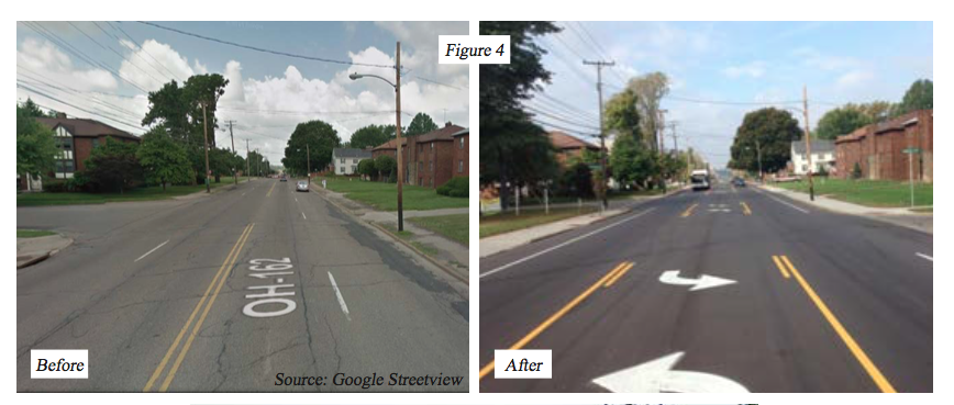 Copley Road in Akron before and after a 'road diet,' which is meant to slow down traffic in residential areas and add lanes for pedestrians and bicycles. (Photo Courtesy: AMATS)