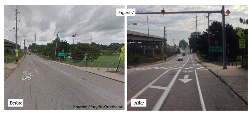 Before and after a 'road diet' on South Street, east of Manchester Road, in which a two-way bicycle lane was added. (Photo Courtesy: AMATS)
