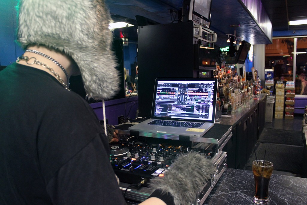 DJ Steve spins the digital turntables in between live musical acts at a recent Akron Music Scene event at Tear-Ez Lounge in downtown Akron. (Photo: Vanessa Michelle)