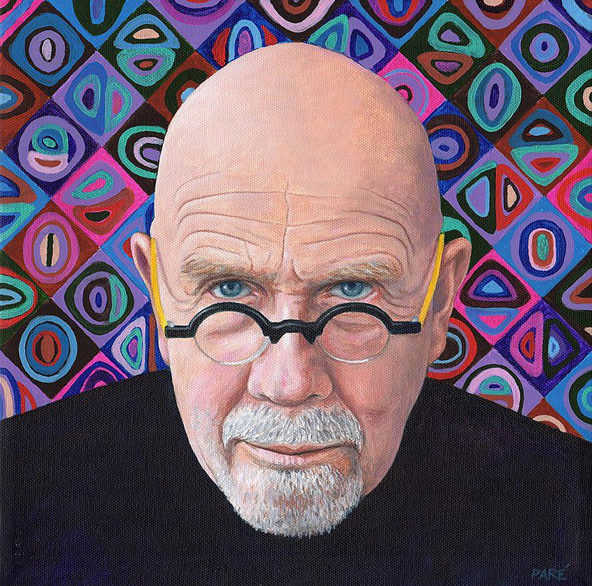 "Artist Mariam Paré painted a portrait of Akron artist Chuck Close ( 2015) acrylic on canvas, 12"" x 12"" by the courtesy of the Association of Mouth and Foot Painting Artists Worldwide."