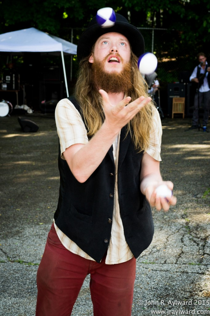 Jonathon James Smith of the band Anchor the Moon learned to juggle work/life responsibilities (Just kidding! He learned to juggle balls.) before taking the stage.  (Photo: John R. Aylward)