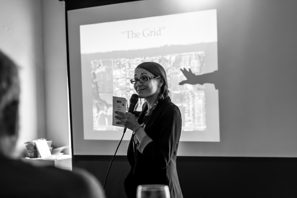 Community organizer Beth Vild shares some sustainable ideas picked up from her recent trip to Portland at last week's Greater Akron Innovation Network for Sustainability (GAINS) meeting. (Photo: Svetla Morrison.)