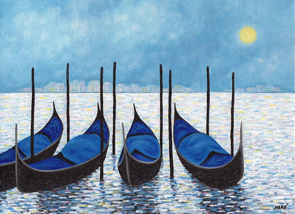 "Mariam Paré, ""Gondolas No.2"" (2014), acrylic on canvas, 11"" x 14"" (Photo courtesy of the Association of Mouth and Foot Painting Artists Worldwide)."