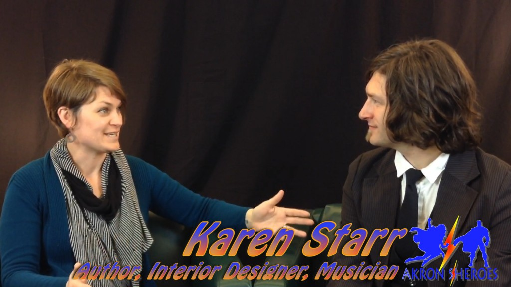 Karen Starr (left) local author, artist, designer and community organizer sits down with Zach in this episode of Akronist TV. (Photo: Blue Green)