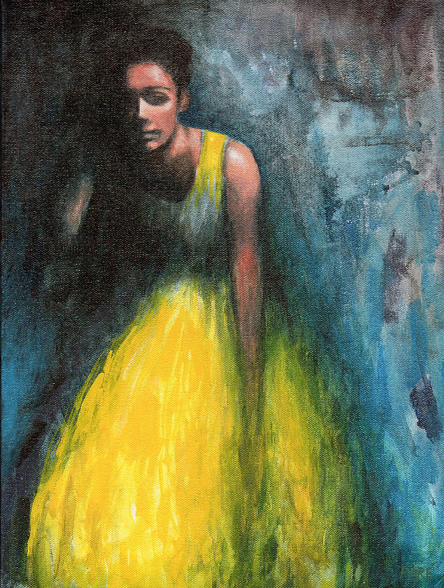"Mariam Paré, ""Lady in Yellow"" (2014), acrylic on canvas, 12"" x 16"" (Photo courtesy of the Association of Mouth and Foot Painting Artists Worldwide)."