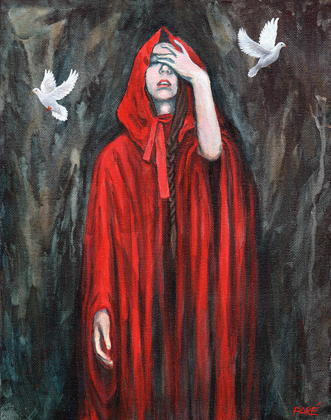 "Mariam Paré, Red Riding Hood, 2014, acrylic on canvas, 11"" x 14"" (Photo courtesy of the Association of Mouth and Foot Painting Artists Worldwide)."