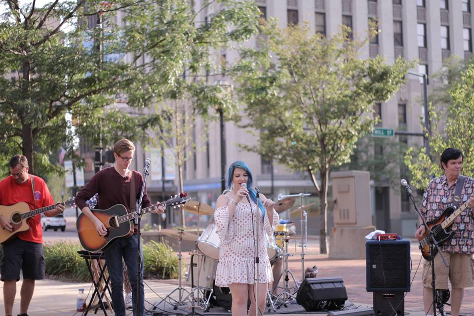 The band Copper Pennies was among a number of musical acts to precede a free outdoor movie at 'A Thing Downtown.' (Photo: Patrick Dillon Bush)