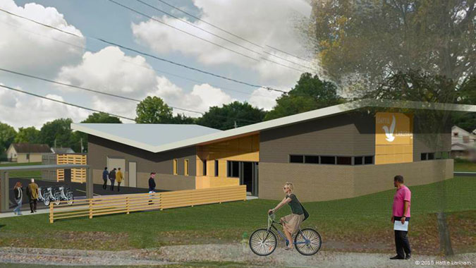 A rendering the Hattie's Food hub, which will process fresh produce grown at Hattie's Gardens as well as by Northeast Ohio farmers and prepared for sale to Akron families.