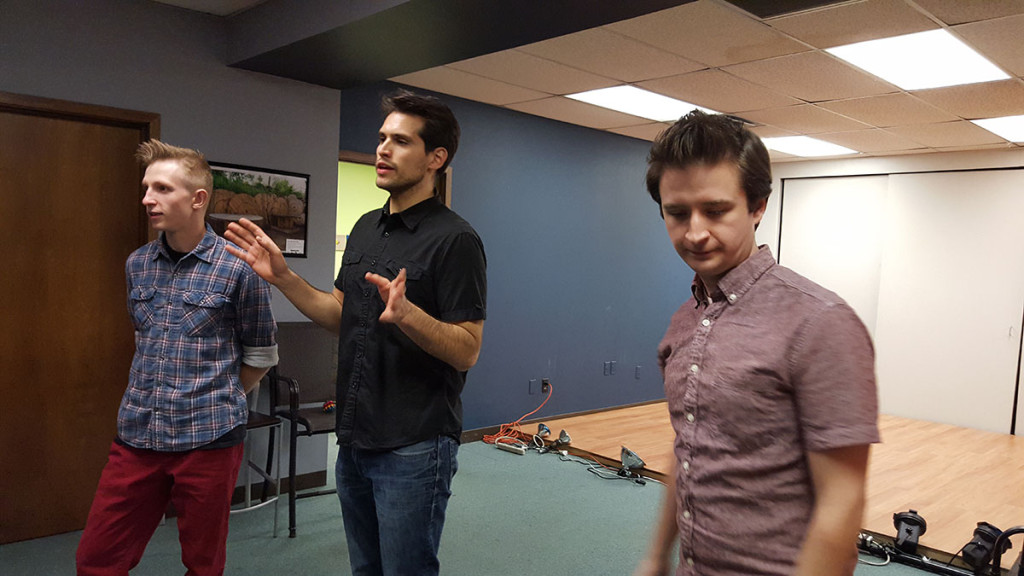 (From left) Ryan Dyke, Dean Coutris and Matt Dolan are part of the Just Go With It improv group, which recently hosted a Wine and Improv event. (Photo: Yoly Glez M Heisler)