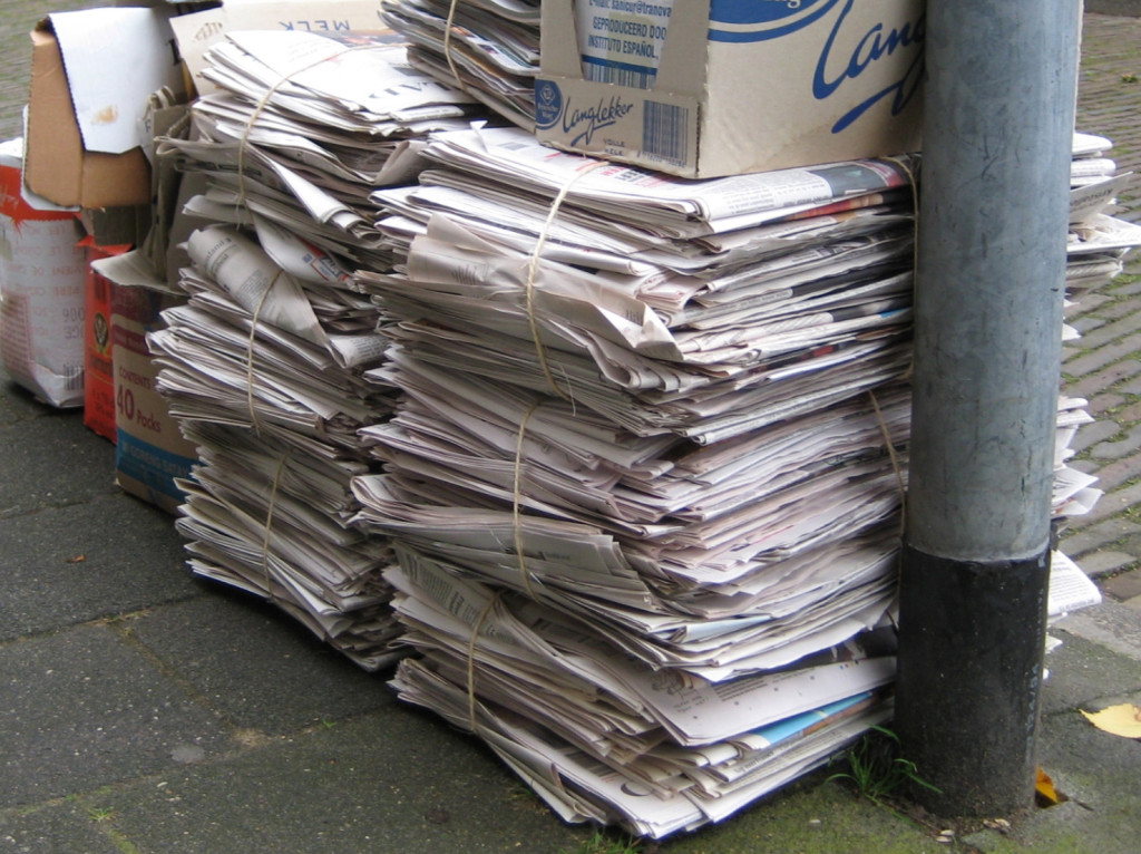 Waste paper waiting to be collected