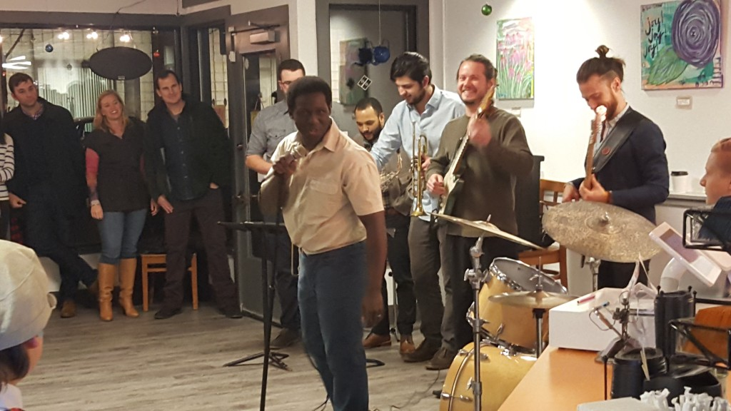 Local beekeeper and soul singer Wesley Bright unveiled a new backing band in a small performance at Sweet Mary's Bakery in downtown Akron. (Photo: Yoly Glez M Heisler)