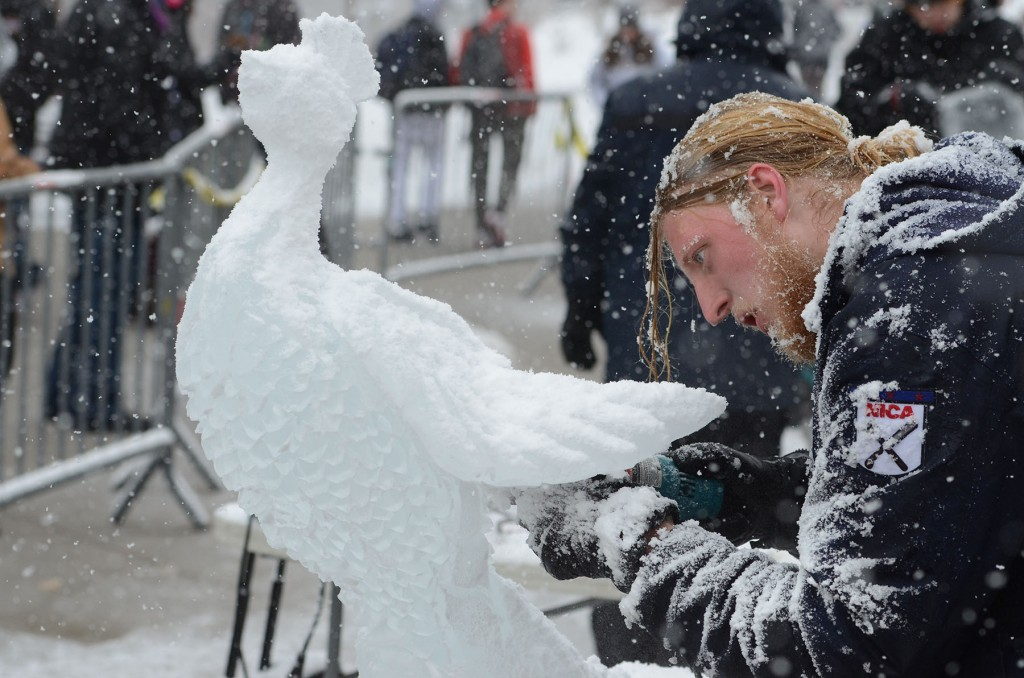 Alumnus Caleb Landis won last year's Ice Fest ice carving competition. Student and alumni ice sculptors sharpen their talents and blades months in advance for the annual festival, a celebration of the culinary art form synonymous with the University of Akron's hospitality management program.