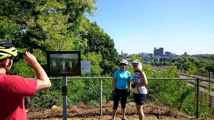 Roy Wilhelm,North Hill Viaduct Under Construction,1922 (Summer 2015Inside|Outreproduction installed in Waters Park, Olive St. and N. Main St., Akron OH 44310, photo courtesy of Akron Bike Party)