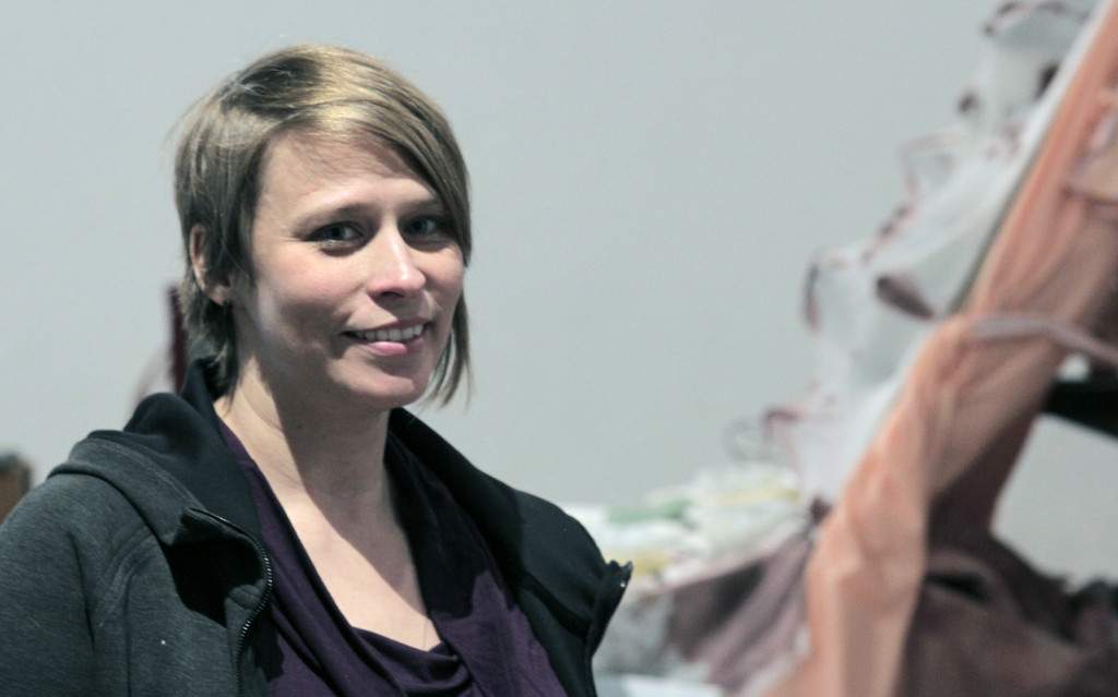 Artist-in-residence Julie Schenkelberg is working with 10 University of Akron students on a collaborative piece that will be exhibited at the Emily Davis Gallery Feb. 19 and 20. (Photo: Chris Miller)