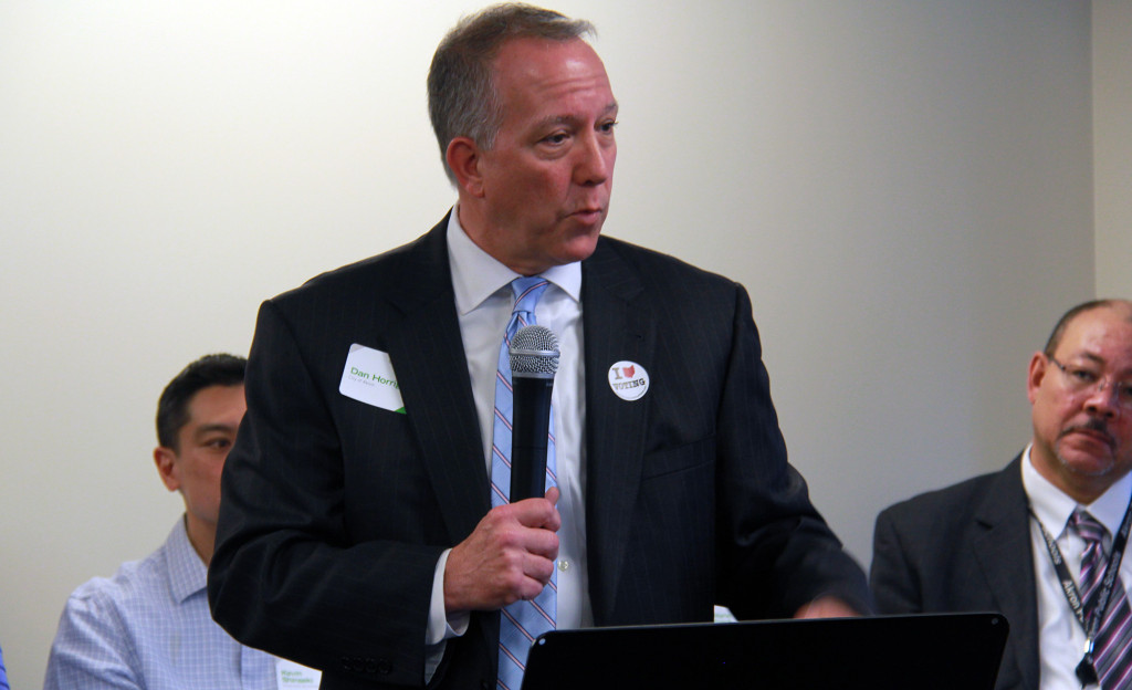 A new countywide workforce development partnership will help close the skills gap in Akron, said Mayor Dan Horrigan. (Photo: Chris Miller)
