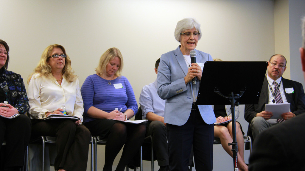 At a recent kickoff event, Conexus President Sue Lacy presented a panel of employers, workers and others who have helped strengthen skills-based hiring. (Photo: Chris Miller)
