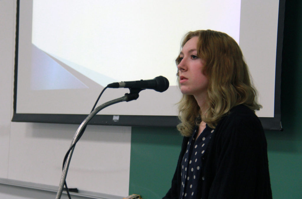Alison Olson discussed the need for better communication, a problem caused by our society's addiction to electronic devices.