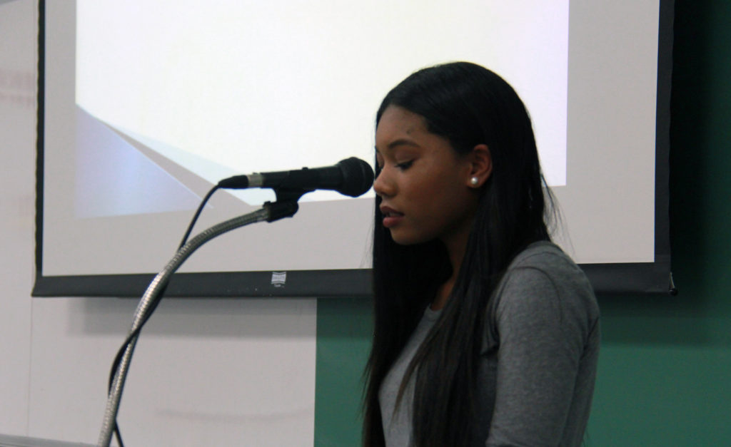 At the recent Project Soapbox student competition, 10th-grader Azia Anderson spoke out about the unfairness of dress codes for girls, which she believes is founded on a notion of sexism. (Photo: Chris Miller)
