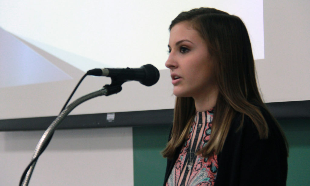 "Britney Carillon urged the audience to stop using the ""R Word,"" which is offensive to people with mental challenges."