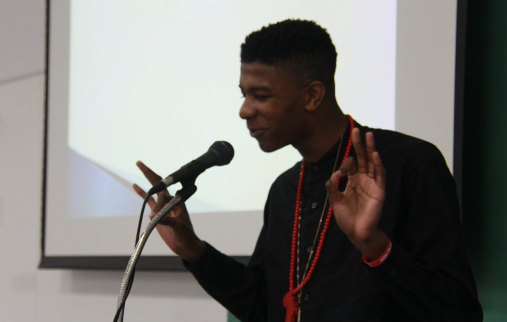 Kofi Boakye, who won the Audience Choice Award at the Akron Early College High School's Project Soapbox, discussed the problem of fatherlessness in our community. (Photo: Chris Miller)