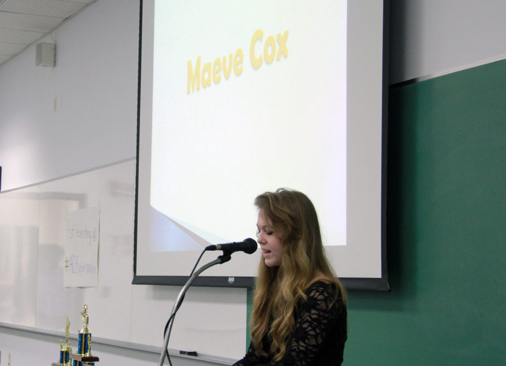 Maeve Cox addressed the epidemic of texting and driving.