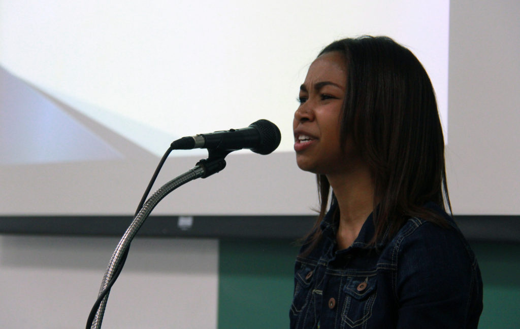 Akron Early College 10-grader Nia Clark talked about teen sex at the recent Project Soapbox competition at the University of Akron. A juried panel selected her speech as the winner. (Photo: Chris Miller)