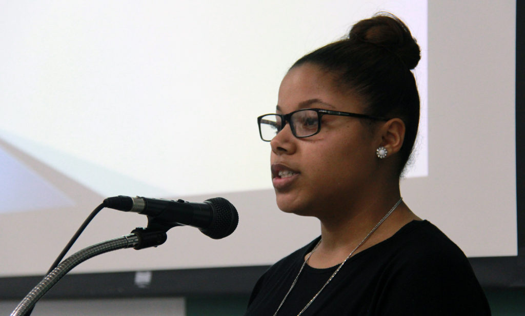 Nia Linton called for an end to racial profiling.