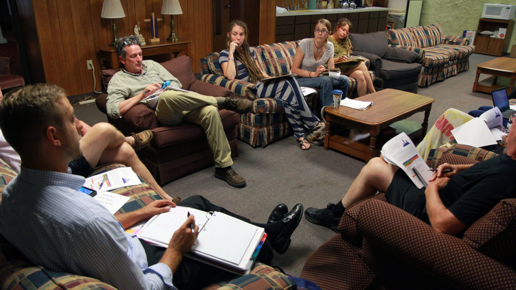 A planning group puts the finishing touches on Middlebury Better Block, which will take place July 30 and 31, including next steps for the neighborhood after the event ends. (Photo: Chris Miller)
