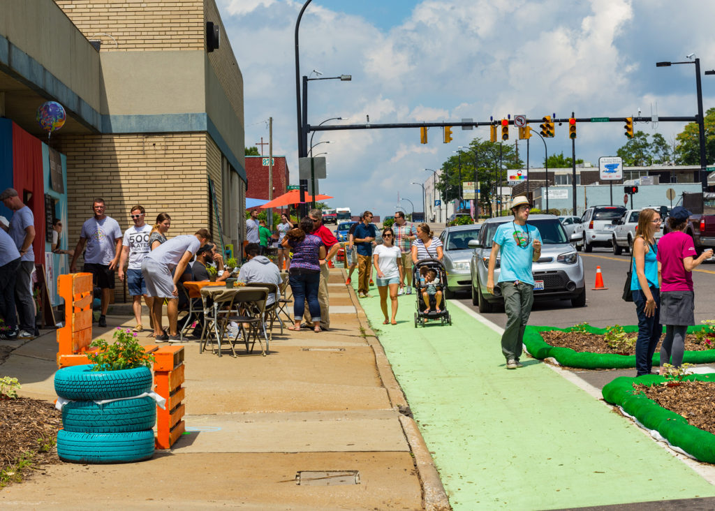 The recent Middlebury Better Block is an example of creative placemaking and tactical urbanism, which will be discussed at the Aug. 10 GAINS meeting at Musica in downtown Akron. (Photo: Tim Fitzwater, Fitzwater Photography)
