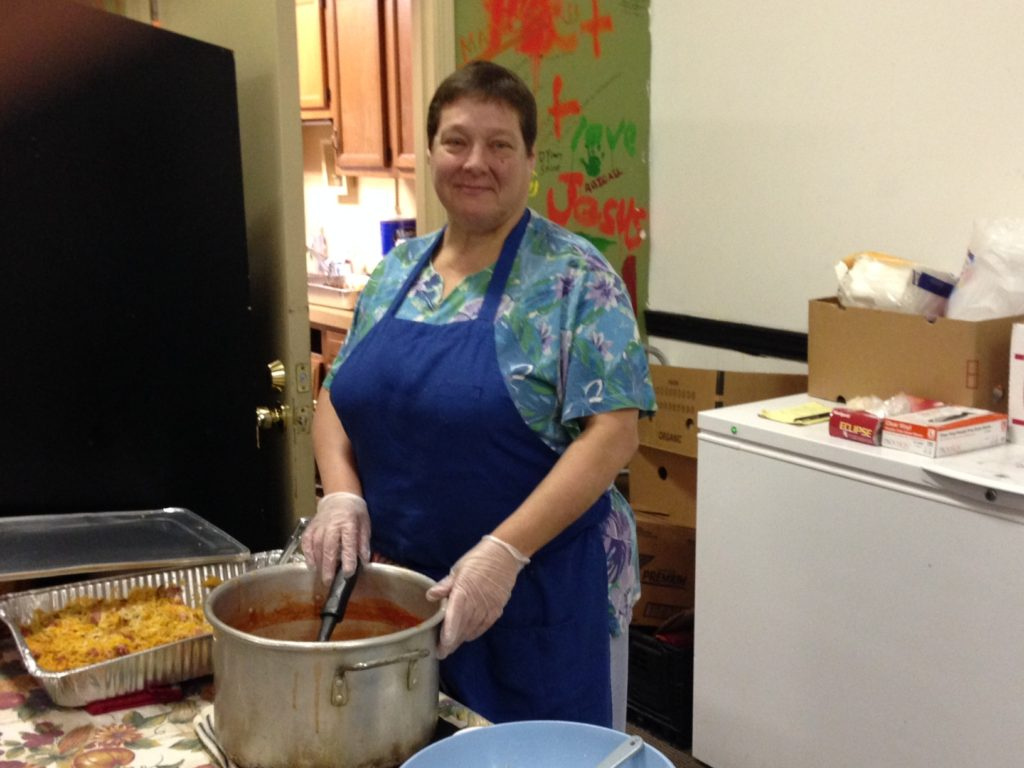 Kathy Wilkins opened the Akron Bible Church's Hope Cafe 10 years ago. About 80 to 100 people show up for the hot meal lunches she prepares. (Photo: Alison Grant)