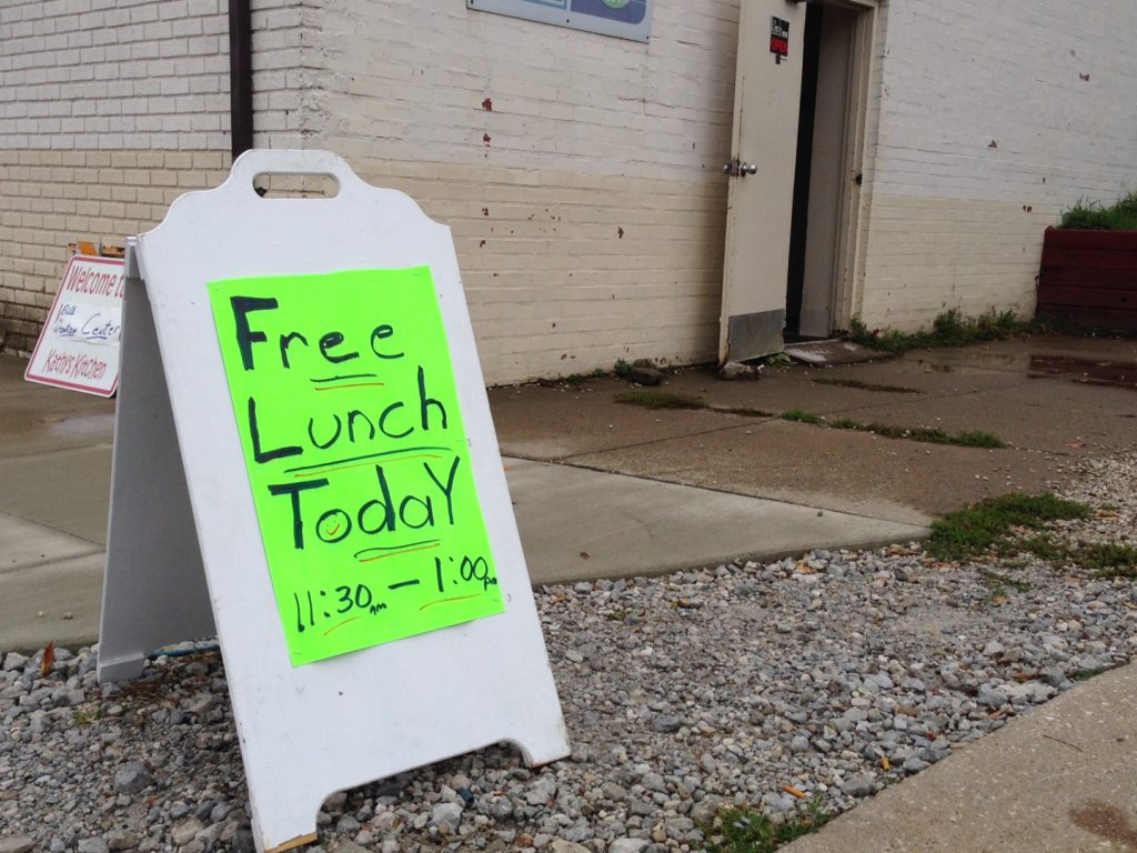 The sign outside the Akron Bible Church's Hope Cafe, about a mile from the University of Akron. Founder Kathy Wilkins says she occasionally has young visitors she thinks might be university students. (Photo: Alison Grant)
